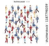 people crowd vevtor. cartoon... | Shutterstock .eps vector #1187798359