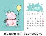 march month 2019 year calendar... | Shutterstock .eps vector #1187802340