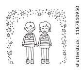 happy teenage gay couple. boys... | Shutterstock .eps vector #1187810950