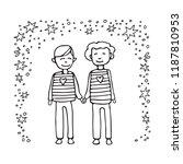 happy teenage gay couple. boys... | Shutterstock .eps vector #1187810953