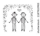 happy teenage gay couple. boys... | Shutterstock .eps vector #1187810983