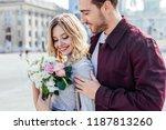 handsome boyfriend hugging... | Shutterstock . vector #1187813260