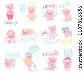 cute vector stickers with funny ... | Shutterstock .eps vector #1187816656