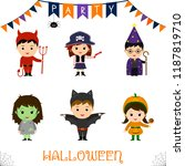 halloween party kids character... | Shutterstock .eps vector #1187819710