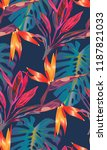 tropical bright pattern with... | Shutterstock .eps vector #1187821033