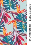 tropical bright pattern with... | Shutterstock .eps vector #1187821039