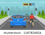 car driver and cyclist waiting... | Shutterstock .eps vector #1187826826