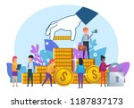 small people standing near big... | Shutterstock .eps vector #1187837173