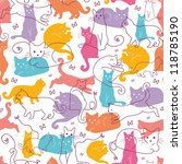 vector colorful cats seamless...   Shutterstock .eps vector #118785190