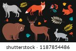 forest animals and plants set ... | Shutterstock .eps vector #1187854486