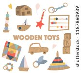 set of wooden kids toys  no... | Shutterstock .eps vector #1187860939