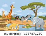 african animals in the nature....   Shutterstock .eps vector #1187871280