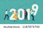 new year 2019 card with figures ... | Shutterstock .eps vector #1187873740
