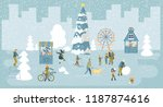 christmas poster with people... | Shutterstock .eps vector #1187874616
