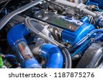 engine under the hood of the... | Shutterstock . vector #1187875276