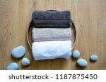 pampering towels and zen stones ... | Shutterstock . vector #1187875450
