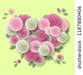 rose heart paper art style... | Shutterstock . vector #1187880406