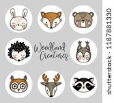 a vector set of hand drawn cute ... | Shutterstock .eps vector #1187881330