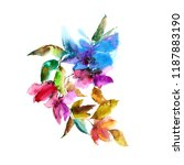 colorful flowers. watercolor... | Shutterstock . vector #1187883190