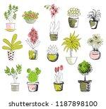 vector set of house flowers in... | Shutterstock .eps vector #1187898100