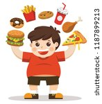 the boy unhealthy body from... | Shutterstock .eps vector #1187899213