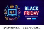 black friday neon banner design.... | Shutterstock .eps vector #1187904253