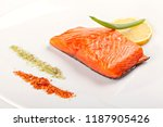 steak of salmon with lemon on ... | Shutterstock . vector #1187905426