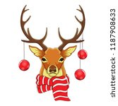 Stock vector portrait deer head in scarf and christmas toys sketch cheracter vector 1187908633