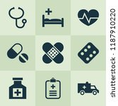 drug icons set with adhesive... | Shutterstock .eps vector #1187910220