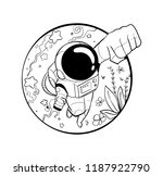 flying astronaut hand drawn   Shutterstock .eps vector #1187922790