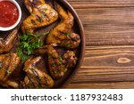 hot bbq . grilled chicken wings ... | Shutterstock . vector #1187932483