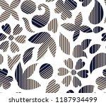 seamless flower with stripe... | Shutterstock .eps vector #1187934499