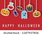 happy halloween paper cut style ...   Shutterstock .eps vector #1187937856
