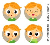 cute set of four young redhead... | Shutterstock .eps vector #1187940043