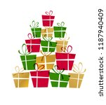 christmas tree made from gift... | Shutterstock .eps vector #1187940409
