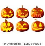set of six pumpkins for... | Shutterstock .eps vector #1187944036