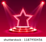 star podium with lighting ... | Shutterstock .eps vector #1187950456