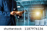 businessman manager using... | Shutterstock . vector #1187976136