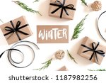 christmas composition on a... | Shutterstock . vector #1187982256
