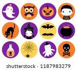 cute halloween vector icons in... | Shutterstock .eps vector #1187983279