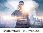 the double exposure image of... | Shutterstock . vector #1187984656