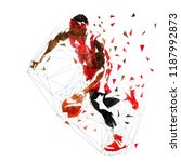 basketball player in red jersey ... | Shutterstock .eps vector #1187992873