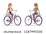 young red haired woman riding a ... | Shutterstock .eps vector #1187995330