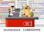 supermarket store interior with ... | Shutterstock .eps vector #1188003496