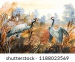 Autumn Landscape With Birds ...