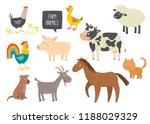 Stock vector set of cute farm animals horse cow sheep pig duck hen goat dog cat cock cartoon vector 1188029329