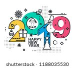 2019 happy new year trendy and... | Shutterstock .eps vector #1188035530