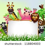 funny animal cartoon with blank ... | Shutterstock .eps vector #118804003