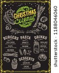 christmas menu template for... | Shutterstock .eps vector #1188046060