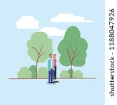 young couple walking on the park | Shutterstock .eps vector #1188047926